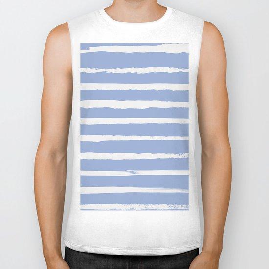 Irregular Hand Painted Stripes Light Blue Biker Tank