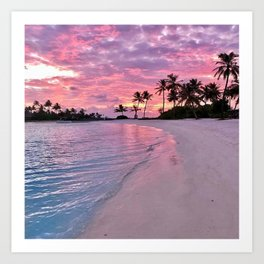 SUNSET AND PALM TREES Art Print