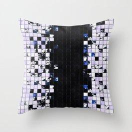 Blue Accent Black And White Square Tiled Ceramic Mosaic Pattern Throw Pillow