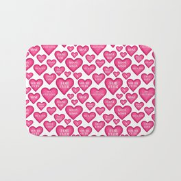Love heart Valentines love hearts, Bath Mat