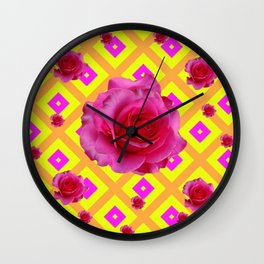 FUCHSIA PINK GARDEN ROSES ON  PATTERNED YELLOW-AMBER Wall Clock