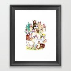 Wild family series - Llama Party Framed Art Print
