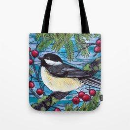 Yuletide Chickadee Tote Bag
