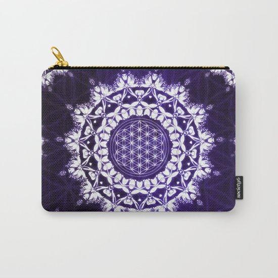Flower Of Life Indigo Glow Mandala Carry-All Pouch