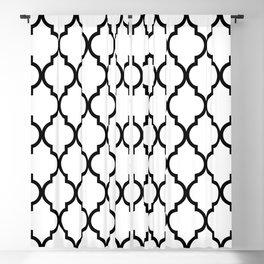 Classic Quatrefoil Lattice Pattern 321 Black and White Blackout Curtain