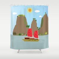 vietnam Shower Curtains featuring Vietnam View by Design4u Studio