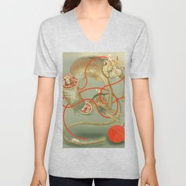 Snapshot of a Cat with Mice Unisex V-Neck