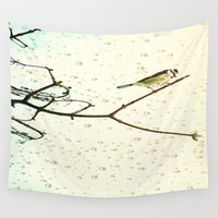 birdy Wall Tapestries featuring Birdy in the rain by Die Farbenfluesterin
