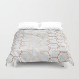 Honeycomb Marble Rose Gold #358 Duvet Cover