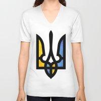 ukraine V-neck T-shirts featuring Emblem of Ukraine by Broncos