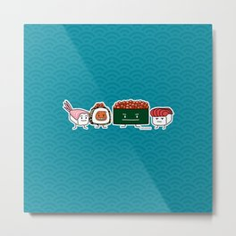 Happy Sushi Brothers rice Japanese shrimp salmon Metal Print