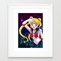sailor moon Framed Art Prints featuring Sailor Moon  by Neo Crystal Tokyo
