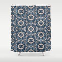 Blue Digital Flower Pattern Shower Curtain