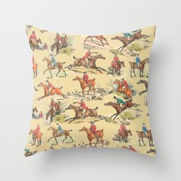 HORSE RIDING IN THE FIELD Throw Pillow
