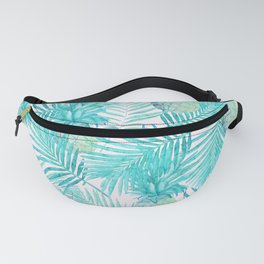 Turquoise Palm Leaves and Pineapples on Pink Fanny Pack
