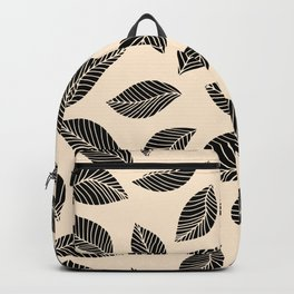 Falling Leaves in black and ivory Backpack