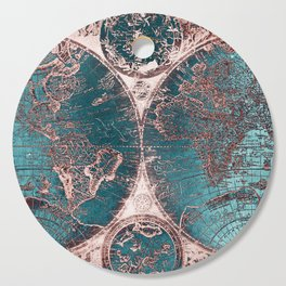 Antique World Map Pink Quartz Teal Blue by Nature Magick Cutting Board