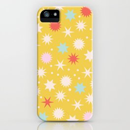 Vintage Christmas Wrapping Paper Pattern Design Mustard Stars & Dots iPhone Case