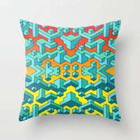 miles davis Throw Pillows featuring Miles and Miles of Squares by Mister Phil
