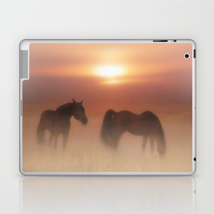 Horses in a misty dawn Laptop & iPad Skin