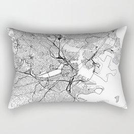 Boston White Map Rectangular Pillow