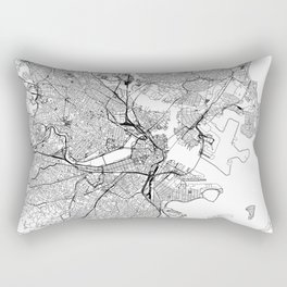 Boston White Map Rectangular Pillow