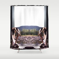woodstock Shower Curtains featuring bookends by EnglishRose23
