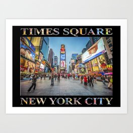 Times Square Sparkle (with type on black) Art Print