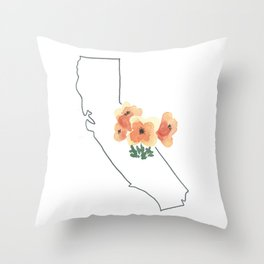 california // watercolor california poppy state flower map Throw Pillow
