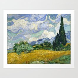 Van Gogh, Wheat Field with Cypresses, 1889 Art Print