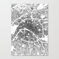 paris Canvas Prints featuring PARIS by Maps Factory
