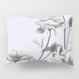 black and white peony i purple background Pillow Sham