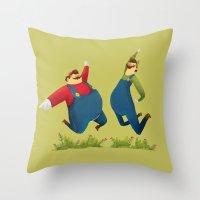 super mario Throw Pillows featuring SUPER MARIO by rafael mayani