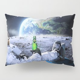 Astronaut on the Moon with beer Pillow Sham