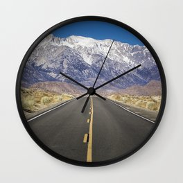 Snowcapped Sierras Highway 136 Wall Clock