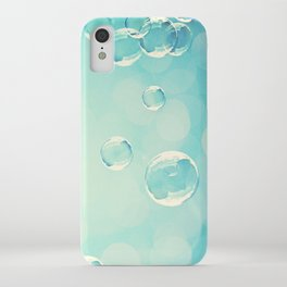Bubble Photography, Laundry Room Soap Bubbles, Aqua Teal Bathroom Photography iPhone Case
