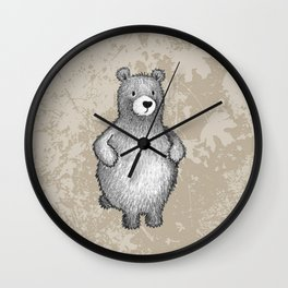grizzly bear in foliage Wall Clock