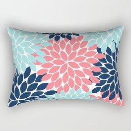 Navy Coral Aqua Floral Pattern Flower Burst Petals Rectangular Pillow