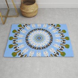 Ruby and Isaac Bluetick Coonhound/Dachshund Mix Mandala Design Rug