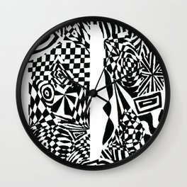 Alphabet Letter D Impact Bold Abstract Pattern (ink drawing) Wall Clock