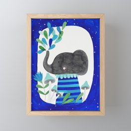 elephant with raindrops in blue watercolor illustration Framed Mini Art Print