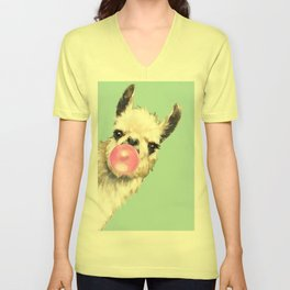 Bubble Gum Sneaky Llama in Green Unisex V-Neck