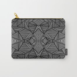 black and white abstract lines triangles pattern Carry-All Pouch