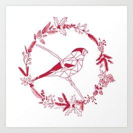 Bullfinch Christmas Art Print