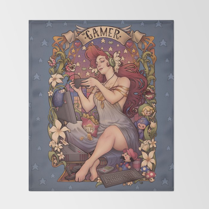 Gamer girl Nouveau Throw Blanket