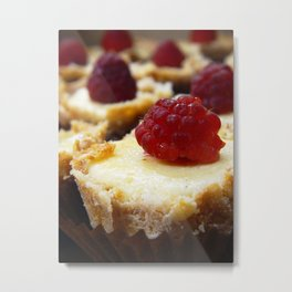 Mini Cheesecake with Raspberry Metal Print
