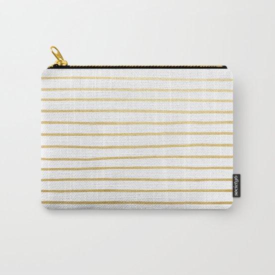 Gold Paris Stripe Pattern Carry-All Pouch