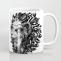 bioworkz Mugs featuring Lion by BIOWORKZ