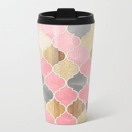 Silver Grey, Soft Pink, Wood & Gold Moroccan Pattern Metal Travel Mug