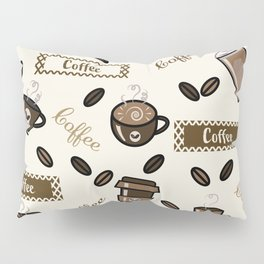 Coffee cups pattern on cream background Pillow Sham